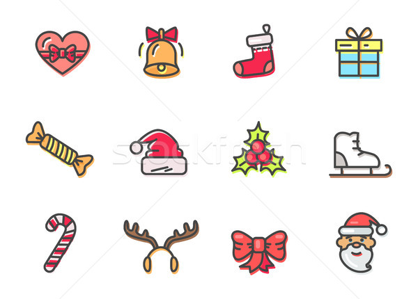 Christmas Colorful Icons Set Vector Illustration Stock photo © robuart