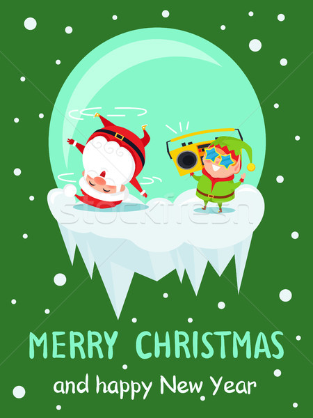 Heiter Weihnachten Neujahr Plakat Tanz Stock foto © robuart