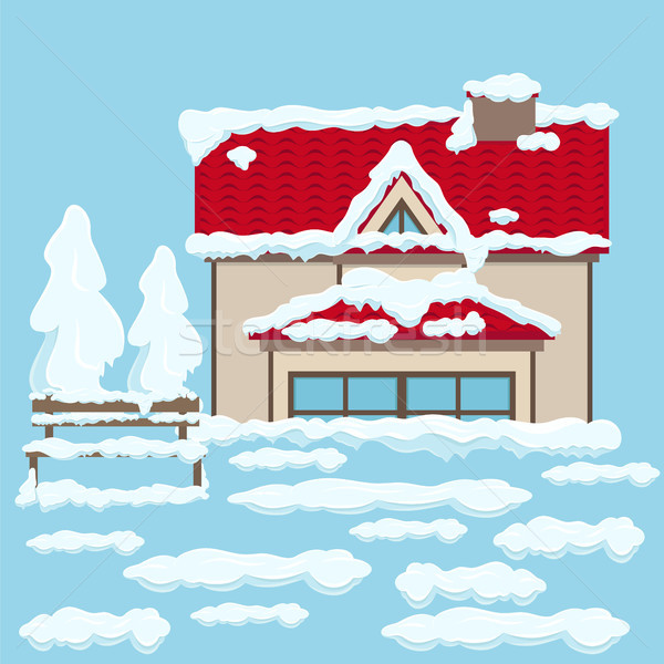 House with Red Roof and Bench near under Snow Stock photo © robuart