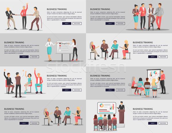 бизнеса подготовки набор плакатов вектора рабочие Сток-фото © robuart