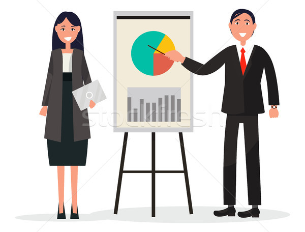 Man and Woman on Coaching with Diagram on Placard Stock photo © robuart