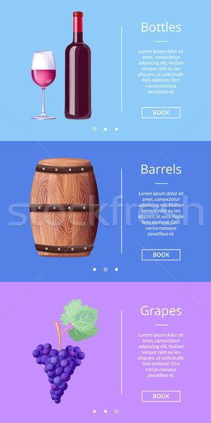 Bottles Barrels Grapes Web Poster Button Book Now Stock photo © robuart