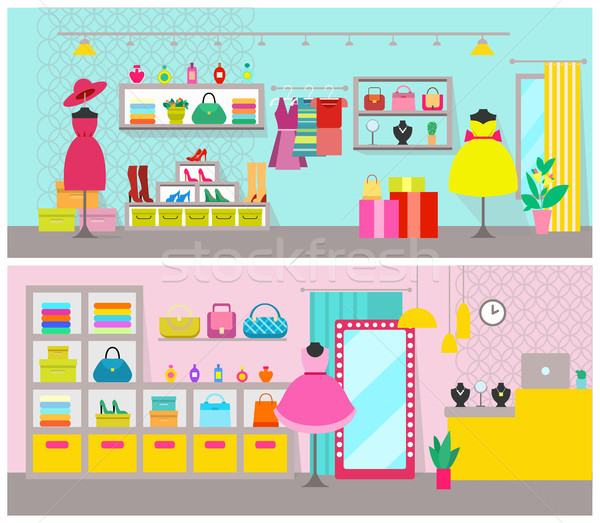 Clothing Store Posters Set Vector Illustration Stock photo © robuart