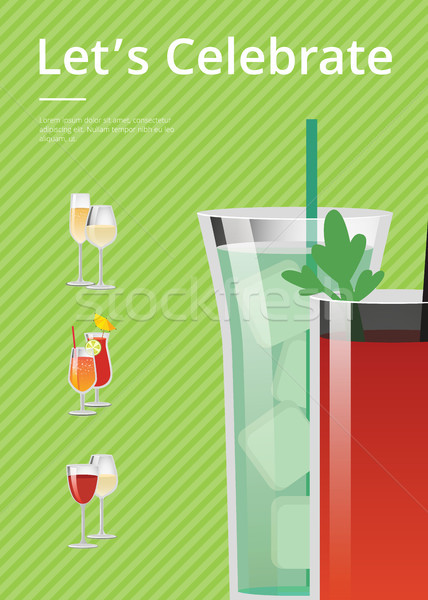 Let s Celebrate Card Colorful Vector Illustration Stock photo © robuart