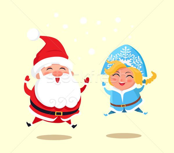 Snow Maiden and Santa Jumping Vector Illustration Stock photo © robuart