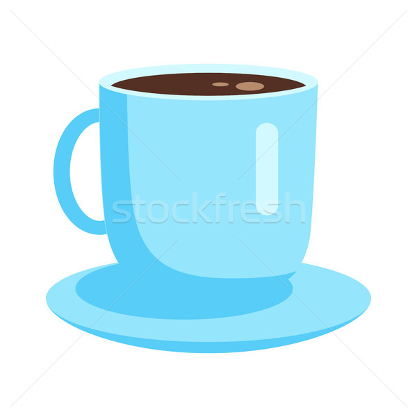 Blue Cup with Coffee on Saucer Flat Vector Icon Stock photo © robuart