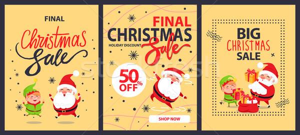 Colección Navidad final venta vacaciones carteles Foto stock © robuart
