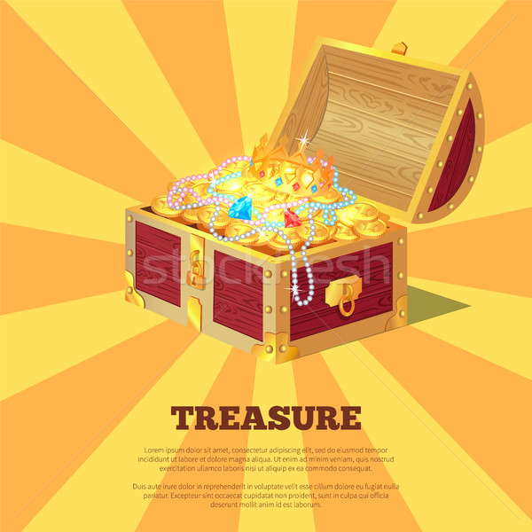 Glossy Treasure Chest Banner Vector Illustration Stock photo © robuart