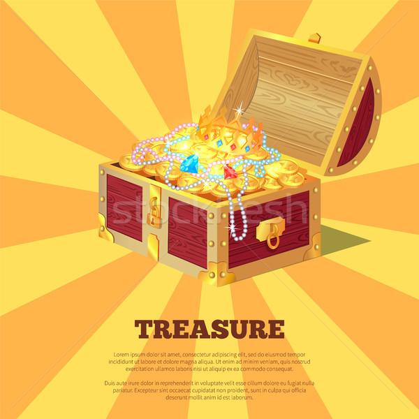 Fényes kincsesláda szalag fából készült doboz arany Stock fotó © robuart