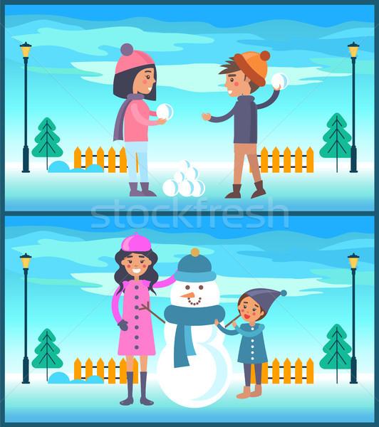 Ragazza giocare pupazzo di neve felice Coppia Foto d'archivio © robuart