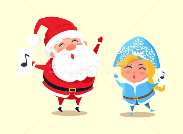 Santa and Snow Maiden Singing Vector Illustration Stock photo © robuart