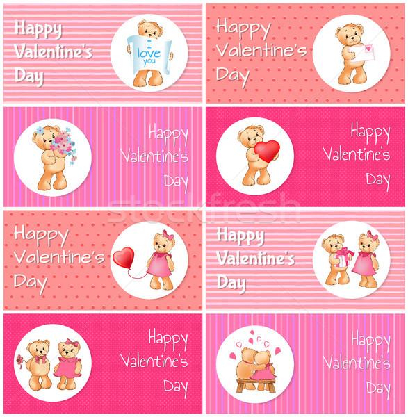 Gelukkig valentijnsdag horizontaal ansichtkaarten ingesteld aanbiddelijk Stockfoto © robuart
