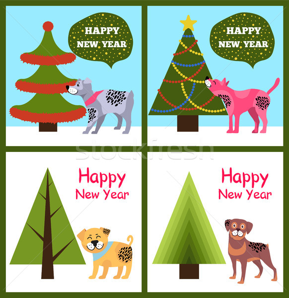 Happy New Year Posters Set Christmas Trees Puppies Stock photo © robuart