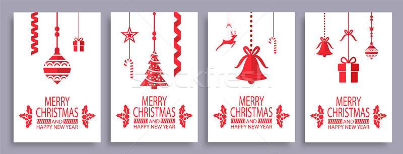 Wesoły christmas szczęśliwego nowego roku symbolika biały Zdjęcia stock © robuart