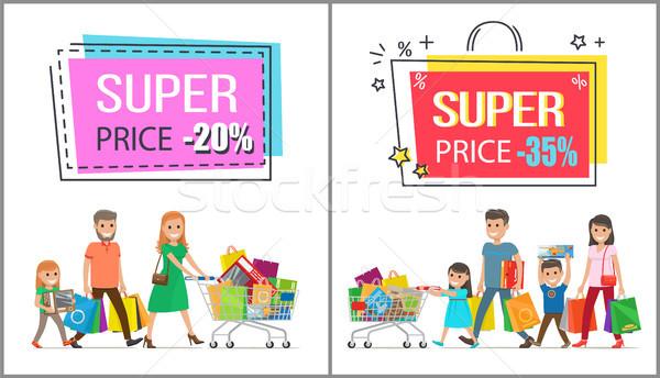 Wspaniały cena redukcja rodziny zakupy Zdjęcia stock © robuart