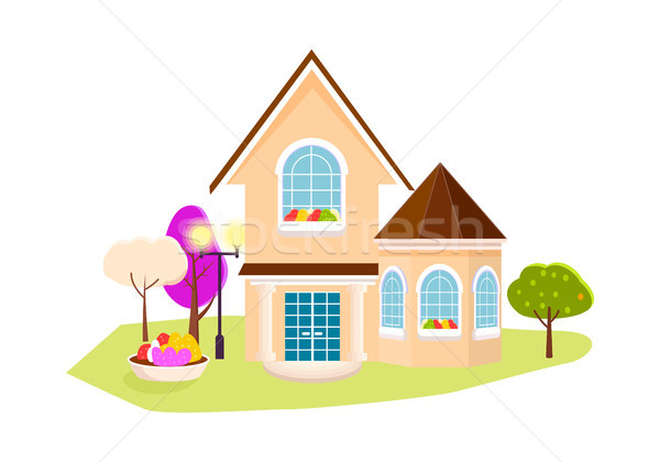 Beautiful house with garden on white background. Stock photo © robuart