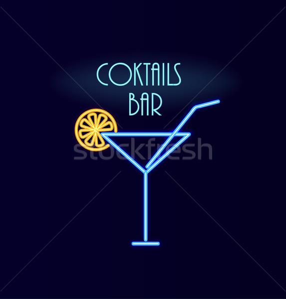 Kokteyller bar neon poster imzalamak cam Stok fotoğraf © robuart