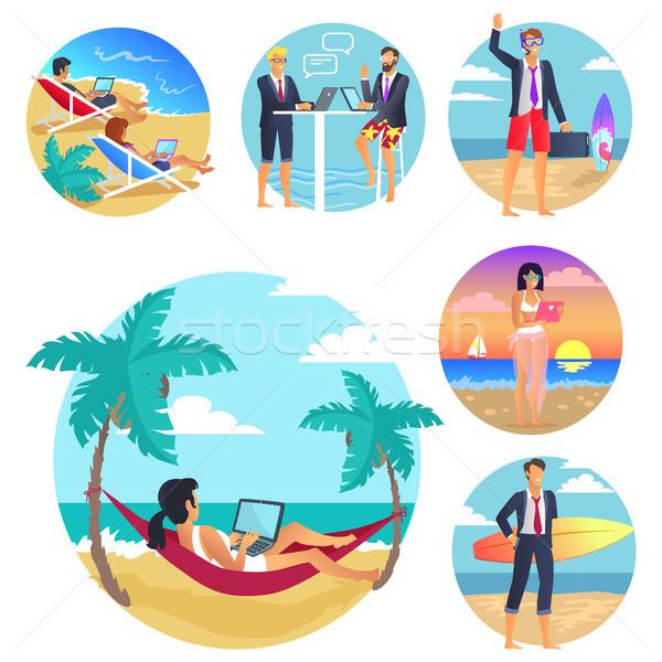 üzleti út nyaralások poszter emberek pihen vízpart Stock fotó © robuart