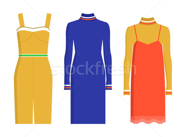 Stylish Fashionable Knee-Length Summer Dresses Set Stock photo © robuart