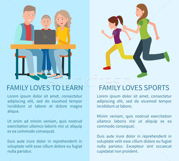 Family Loves to Learn and Sport Colorful Cards Stock photo © robuart