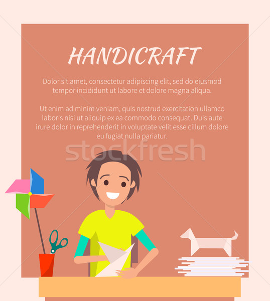 Handicraft Banner, Origami Art Vector Illustration Stock photo © robuart