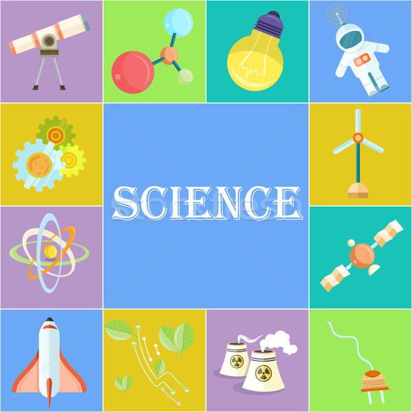 Scienza poster cartoon illustrazioni fisica astronomia Foto d'archivio © robuart