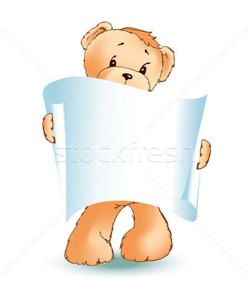 Plüssmaci üres plakát mancsok bolyhos játék Stock fotó © robuart