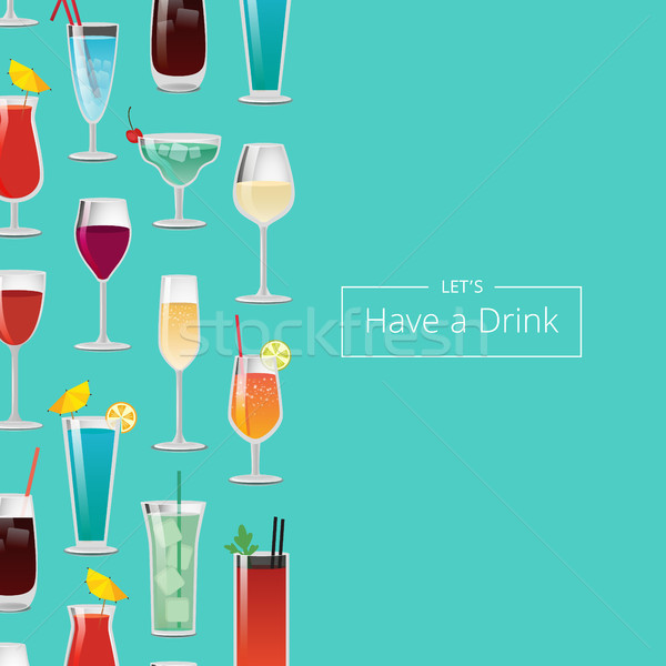 Let s Have a Drink with Lot of Alcohol Beverages Stock photo © robuart