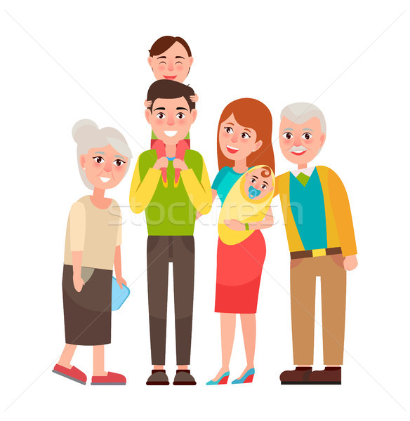 Family with Good Emotions Vector Illustration Stock photo © robuart