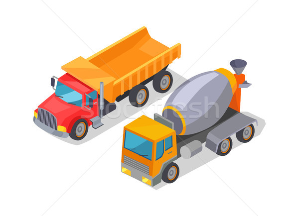 Cement-Mixer and Lorry Poster Vector Illustration Stock photo © robuart