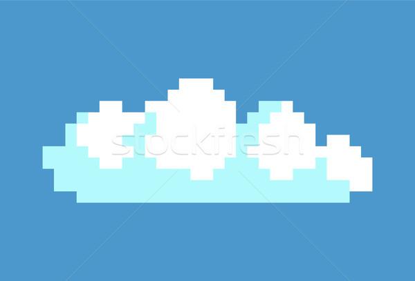 Beyaz bulut mavi gökyüzü piksel oyun arayüz Stok fotoğraf © robuart