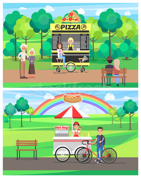 Street Food in Bright Summer Park Vector Banner Stock photo © robuart