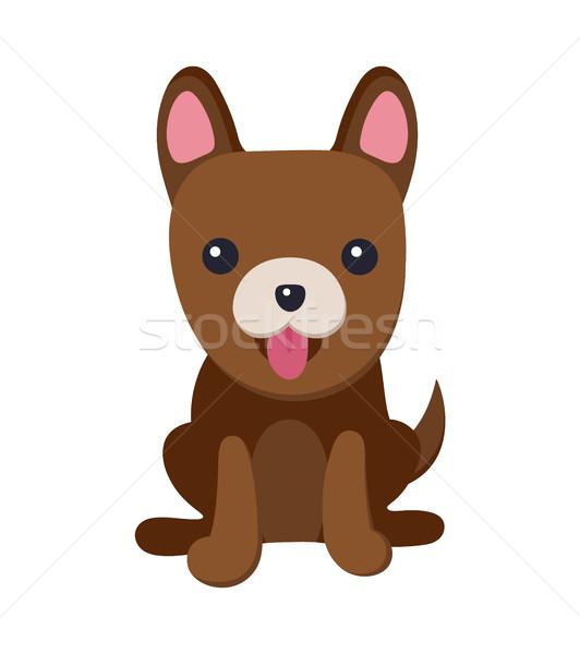 犬 舌 子犬 ポスター エネルギッシュな 優しい ストックフォト © robuart