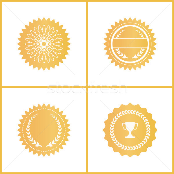 Round Gold Certificate Emblems for Documents Set Stock photo © robuart