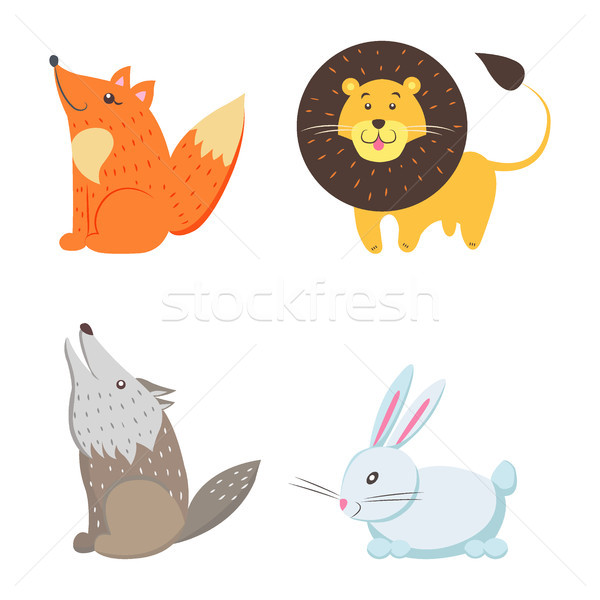 Red Fox, Yellow Lion, Howling Wolf, White Rabbit Stock photo © robuart