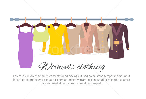 Womens Clothing Poster with Fashionable Apparel Stock photo © robuart