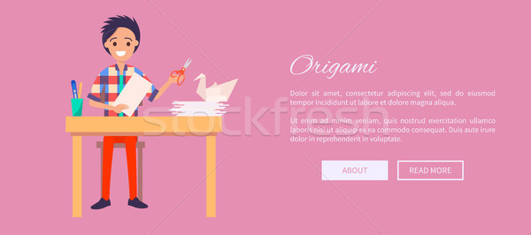 Origami Concept Web Banner with Man Sit at Table Stock photo © robuart