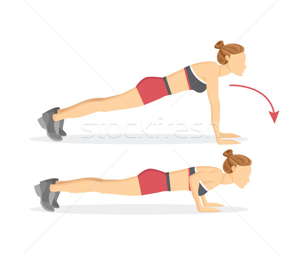 Push Ups Tabata Exercises Vector Illustration Stock photo © robuart