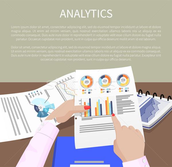 Analitika szalag sok táblázatok grafikonok adat Stock fotó © robuart