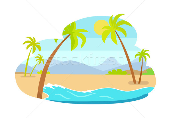Palm Trees on Coastline Mountains in Background Stock photo © robuart