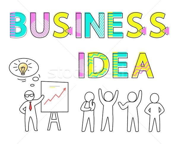 Foto stock: Negócio · idéia · promo · cartaz · humanismo · silhuetas