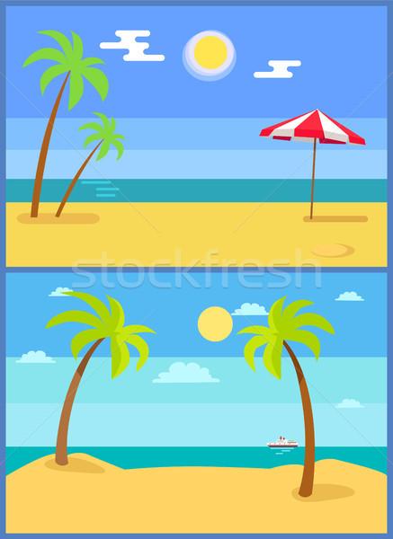 Tropical Resort Vector Illustration Set Palm Trees Stock photo © robuart