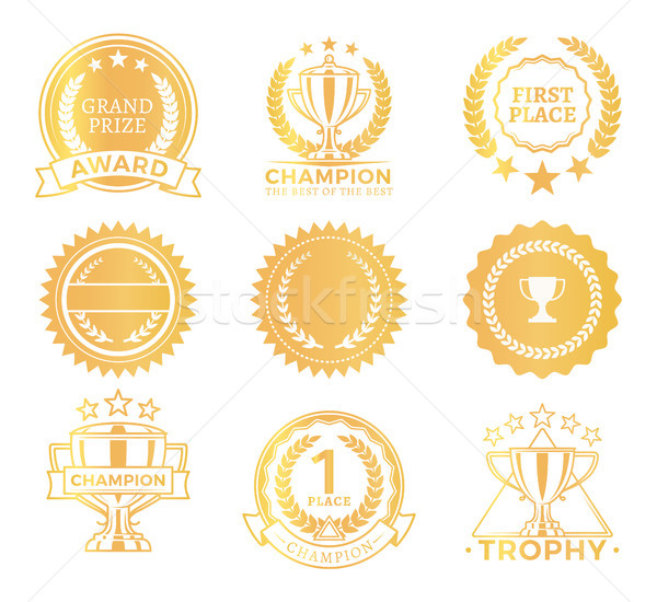 Grand Prize Trophies Set, Vector Illustration Stock photo © robuart