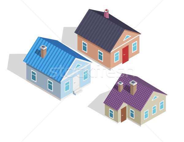 Сток-фото: набор · 3D · небольшой · изометрический · домах · крыши