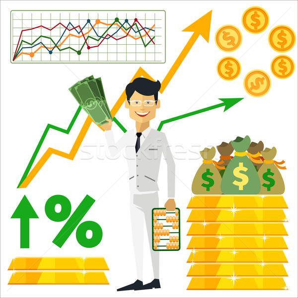 Happy man trader holding dollars in hand Stock photo © robuart