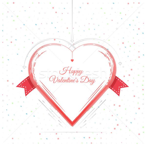 Stock fotó: Valentin · nap · kártya · piros · keret · szív · 14