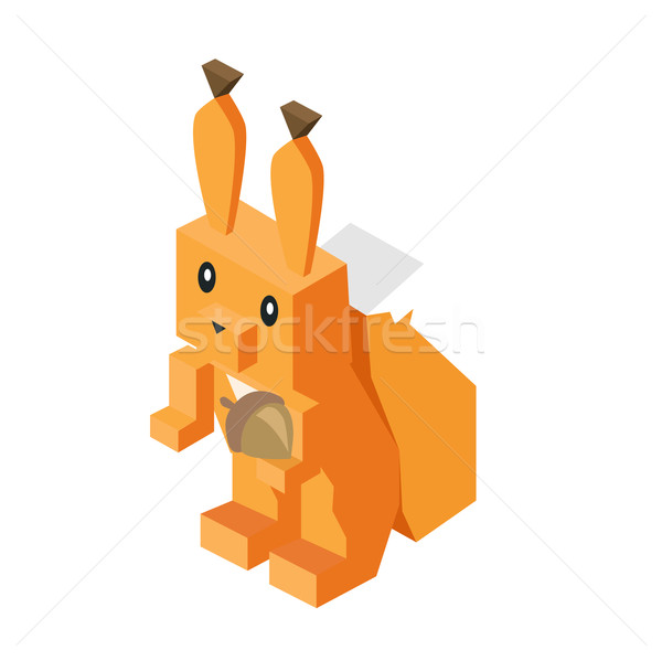 Stock photo: Wild Animal Squirrel Isometric 3d Design