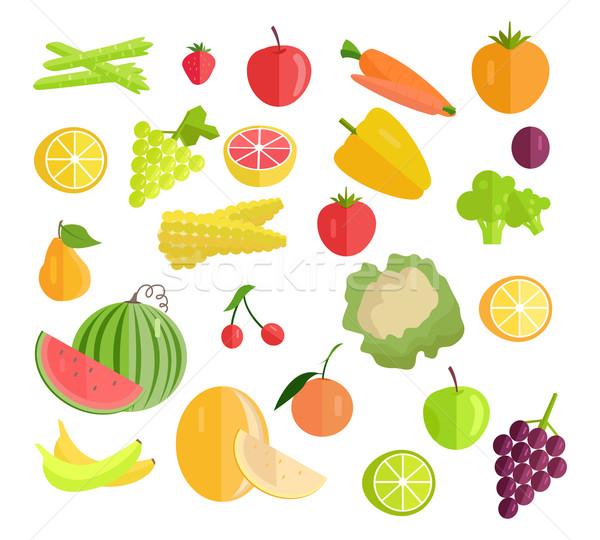 Szett gyümölcsök zöldségek vektor terv sárgarépa Stock fotó © robuart
