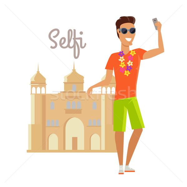 Man Selfie on Summer Vacation in India Stock photo © robuart