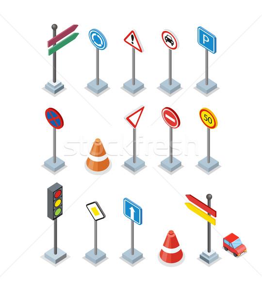 дороги улице признаков набор рекламные щиты изолированный Сток-фото © robuart